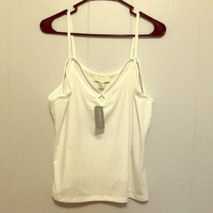 NWT white tank top with cross pattern